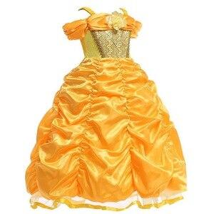 Image 2 - Dziewczyny Belle sukienka księżniczka dziewczyna Off ramię bajka Cosplay impreza z okazji halloween sukienki dziecięca suknia balowa akcesoria do kostiumów