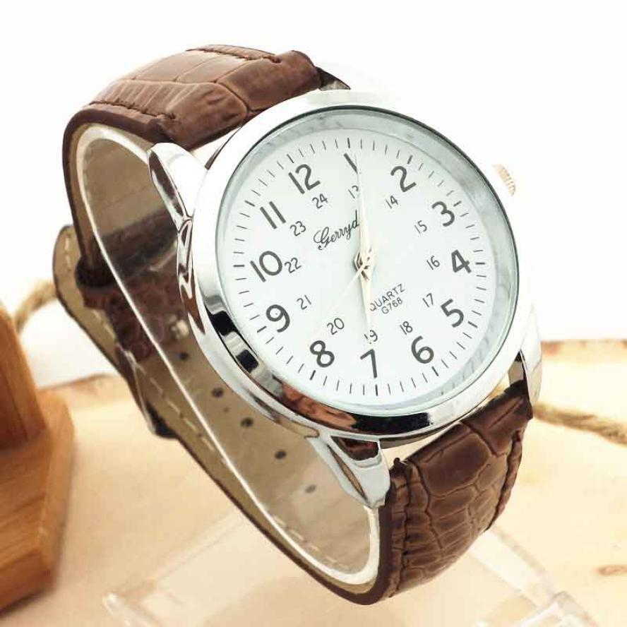 Gofuly Hot Top Brand  Elegant Analog Luxury Sports Leather Strap Quartz Mens Wrist Watch Casual Sport Wristwatch Relogio