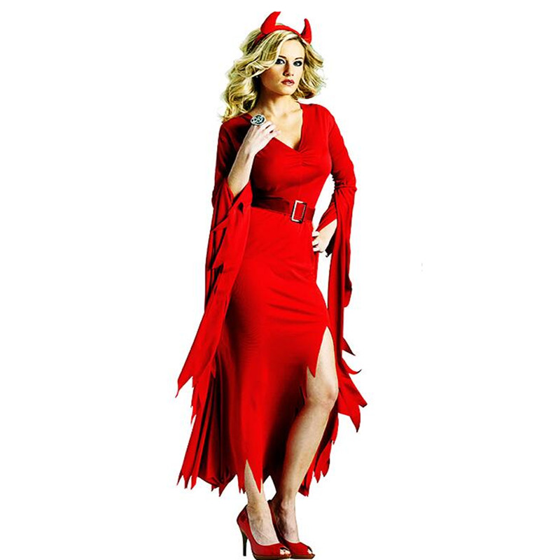 682578d24 Go shopping for best price 2018 Sexy Women Lady Red Devil Witch Cosplay Costume  Adults Performance Costumes Halloween Party Dress Up Decoration Purim.