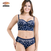 Axesea Swimwear Women Push Up Bikini Set Backless Print Floral Swimsuit With Underwire Padded Use Soft