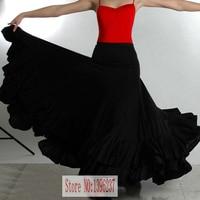 Women Flamenco Dancing Skirt Black Color Lady Spain Bullring Dance Dress Adult Custom Made Stage Ballroom Competition Dresses