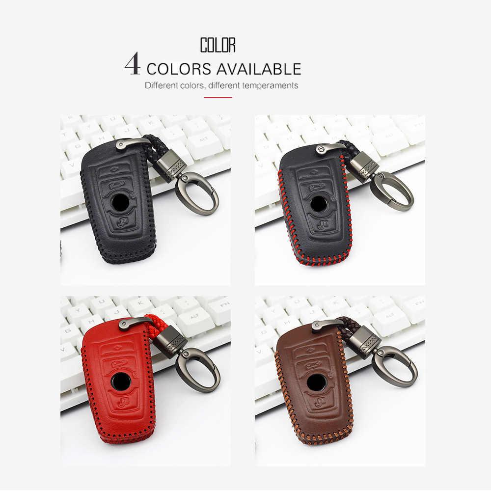 Kulit Case Kunci Mobil untuk BMW 5 520 X1 F48 X3 E83 X5 E53 F20 G30 E36 E38 F31 e39 E90 F30 E46 E60 Gantungan Kunci Shell Aksesoris