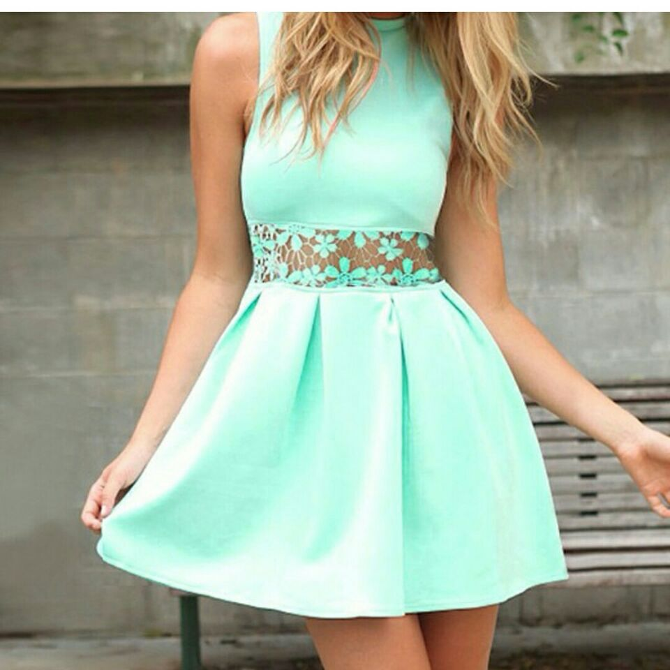 2015 light green lace patchwork dress mini cute vestidos ...