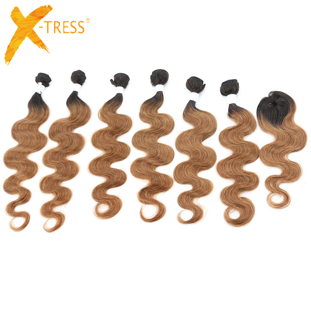 X-TRESS Brazilian Human Hair 6 Bundles With Closure For Full Head Omber Brown Body Wave Non-Remy Hair Extensions Free Shipping