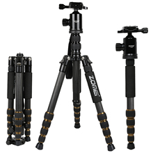 ZOMEI Z699C Carbon Fiber Portable Tripod with Ball Head Compact Travel Monopod Digital SLR DSLR Video Camera
