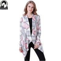 2017 Primavera Outono Moda de Nova Irregular Impressão Estilo Étnico Casaco Europa Mulheres mangas Compridas Jacket lady Casacos De Malha cardigan