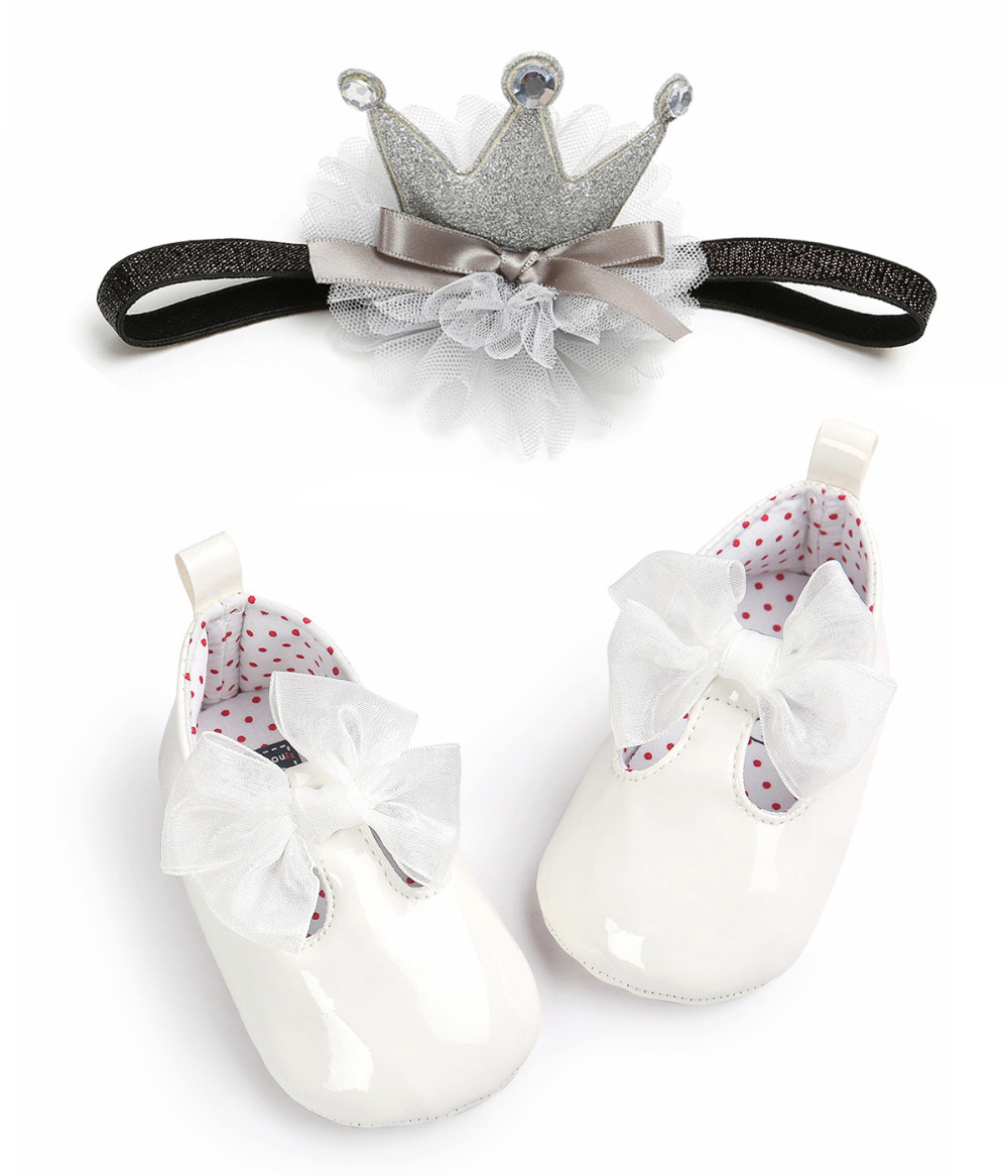 Flower Baby Shoes Crown Headband Set Newborn Girl Princess Crib Baptism Shoes Soft Sole Prewalker Christening Baby Pu Shoes