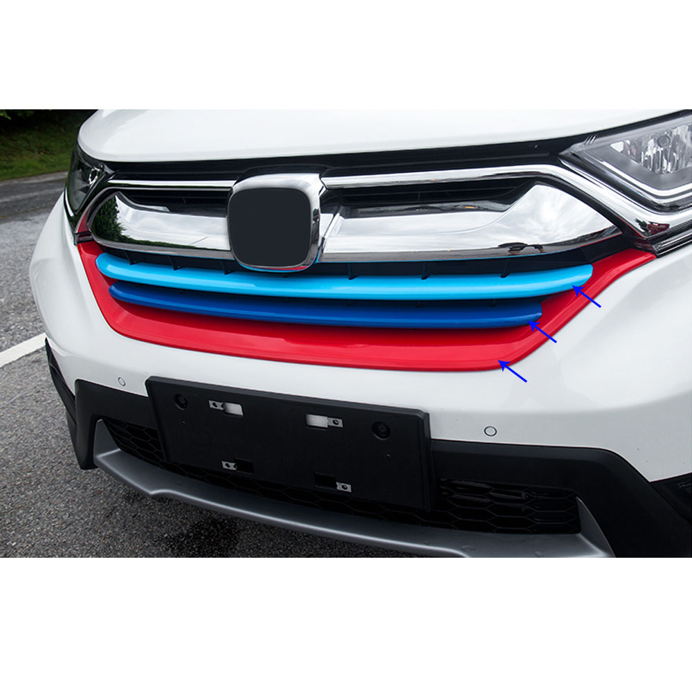 Car styling cover protection detector trims ABS chrome Front up Grid Grill Grille racing bumper For Honda CRV CR-V 2017 2018 car panel body cover protection trim front up grid grill grill racing 1pcs for nissan march 2011 2012 2013 2014 2015 2016 2017