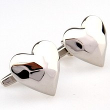 Silver Heart Cufflink 2 Pairs Free Shipping Promotion