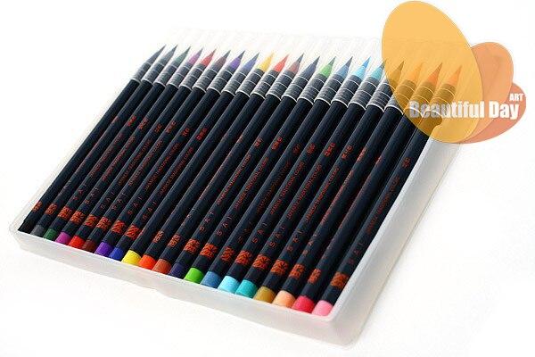Original japon akashiya aquarelle pinceau marqueur stylo 20 couleurs/ensemble, pinceau doux marqueur