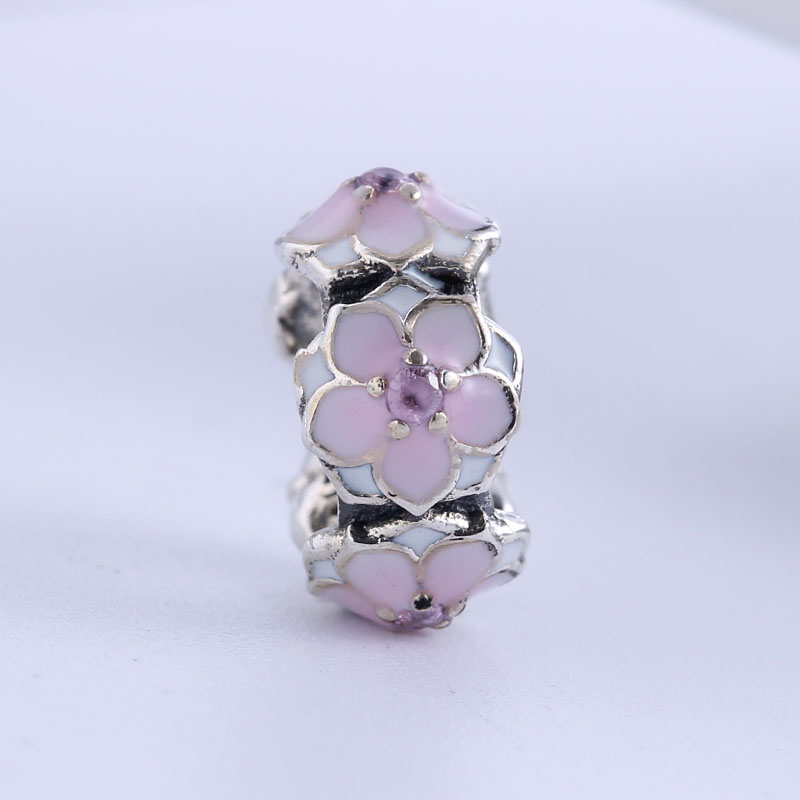 2017 Spring New 100% 925 Sterling Silver Fit Original Pandora Bracelet Magnolia Bloom Spacer DIY Charms Beads for Jewelry Making