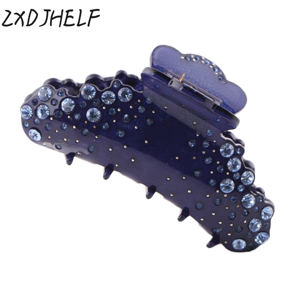 ZXDJHELF Female Headwear Rhinestone Hairclip Acrylic Crystals Hair Claw 9cm Large Size Barrettes Accessories For Women F132 women headwear 2017 retro hair claw cute hair clip for girls show room vitnage hair accessories for women