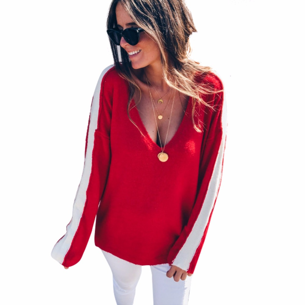 Sinfeel Sweater Women Spring Autumn Pullover Long Sleeve Sexy Off Shoulder V Neck Tops Casual Sweater For Women Knitted Sweaters