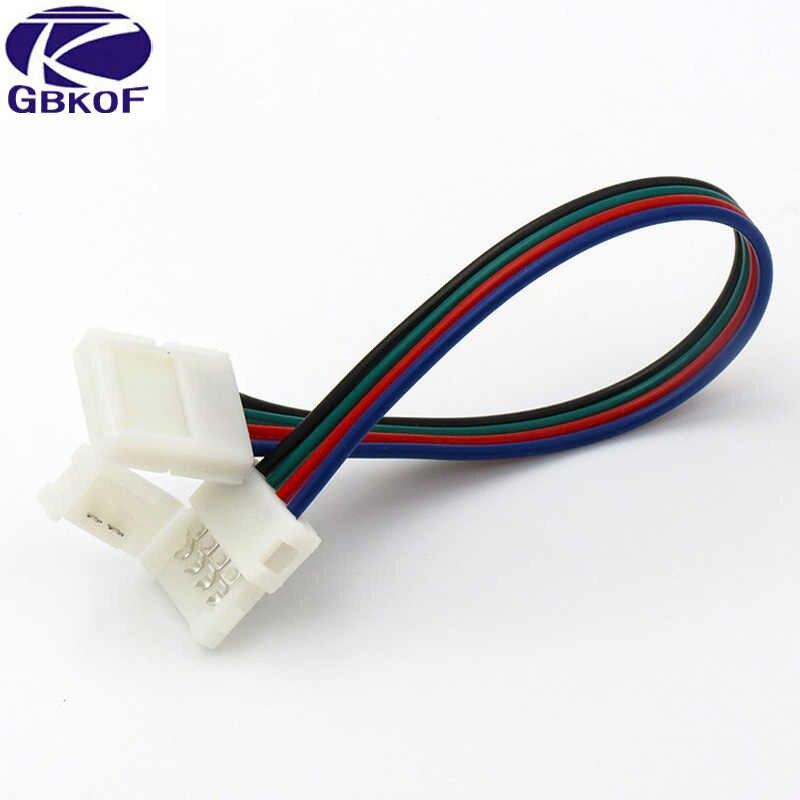 5 шт./партия 10 мм 4 беспаечный штекер удлинить разъемы на 2 концах для 5050 RGB светодиодный ленты или 10 мм широкий 4 контактный гибкий разъем PCB