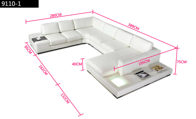 Hitam Kulit Sofa Modern Ukuran Besar U Berbentuk Set Dengan Cahaya Meja Kopi Busana Sederhana Sudut Ruang Tamu