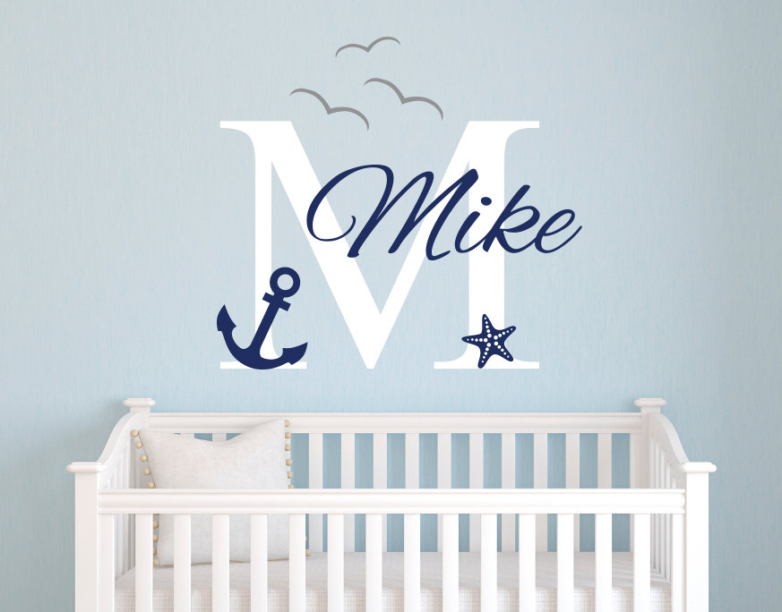 Us 8 98 25 Off Personalized Name Nautical Baby Room Decor Anchor Wall Decal Nursery Decals Vinyl Stickers For Kids Mural Jw017 In