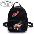 Vintage Embroidery Backpack Winter New  National Ethnic embroidered Rucksack Floral Bird shoulder Bags velvet Retro Travel Bags