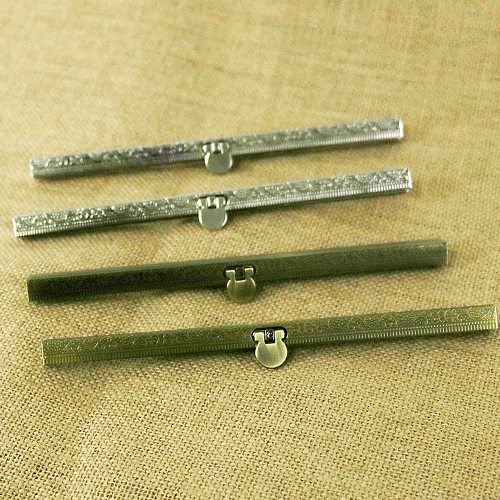 DIY Knurling Pattern Women Metal Purse Frame Silver And Bronze Color Girl Coin Bag Metal Clasp Stripe Vertical Bar Shape 5pcs