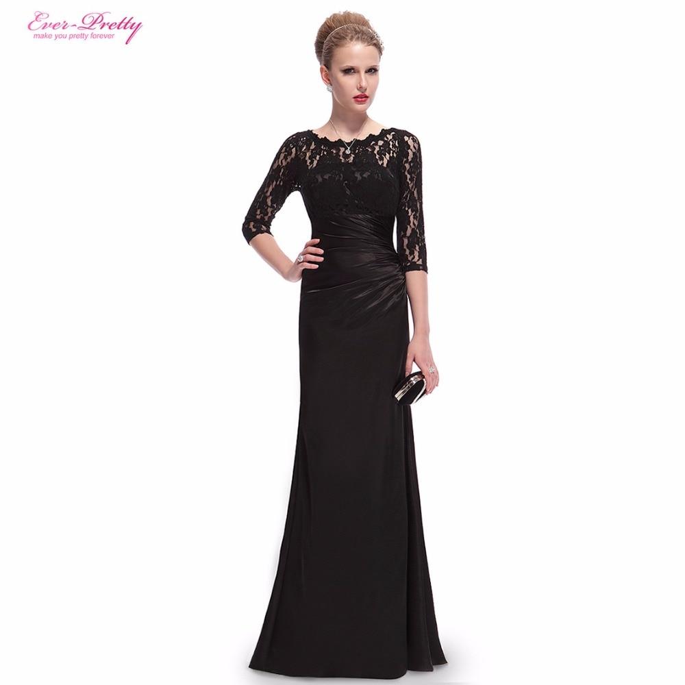 Evening Dresses HE09882 Ever Pretty Elegant  3/4 Sleeve Lace Long Winter Formal 2018 Celebrity Dresses