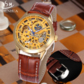 SHENHUA Luxury Gold Skeleton Automatic Mechanical Watch Men Watch Leather Strap Retro Top Brand Business Dress Watches