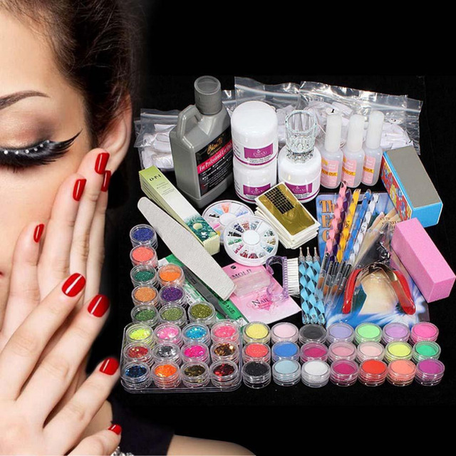 42 Acrylic Powder Liquid Nail Art Kit Glitter UV Gel Glue Tips Brush ...