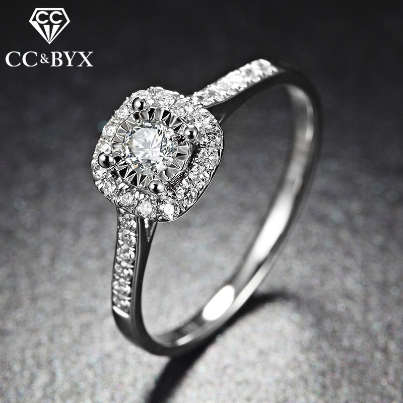 CC S925 обручальные кольца для женщин серебряного цвета квадратные простые классические ювелирные изделия Свадебные обручальные украшения ...