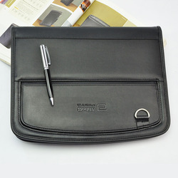 business PU leather portfolio a4 documents file folder manager bag brief case mobile pocket padfolio with pen loop 768
