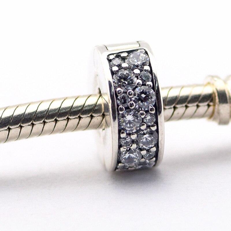 e7f80e333210 Brillante elegancia clip cristal Amuletos plata 925 joyería de plata  esterlina plata encanto pulsera DIY joyas al por mayor