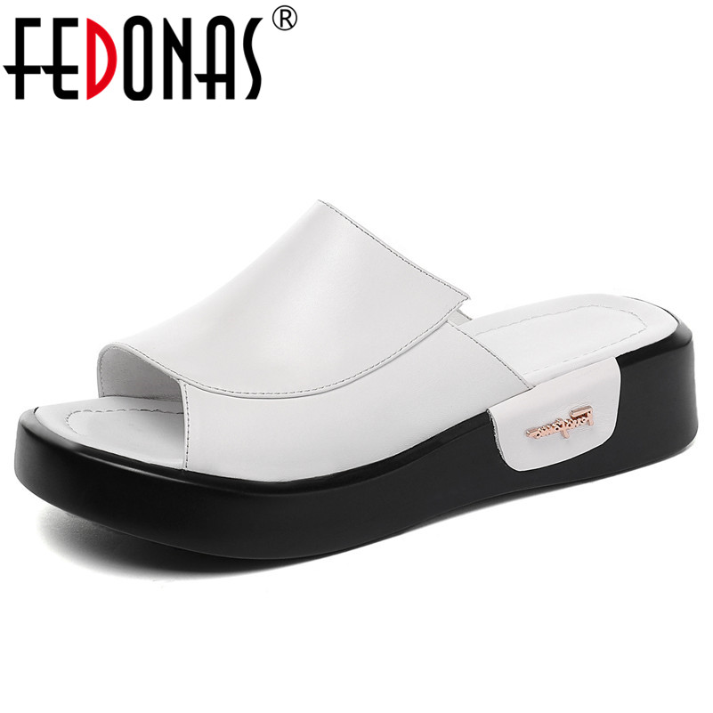 FEDONAS 2020 Summer New Genuine Leather Women Sandals Classic Fashion Shallow High Heels Casual Shoes Woman Party Basic Shoes