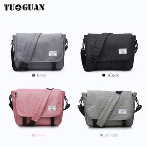 Image 2 - TUGUAN Men Messenger Bags Mens Fashion Business Travel Shoulder Bags female Canvas Briefcase Men Crossbody Bag Handbag XB1701T