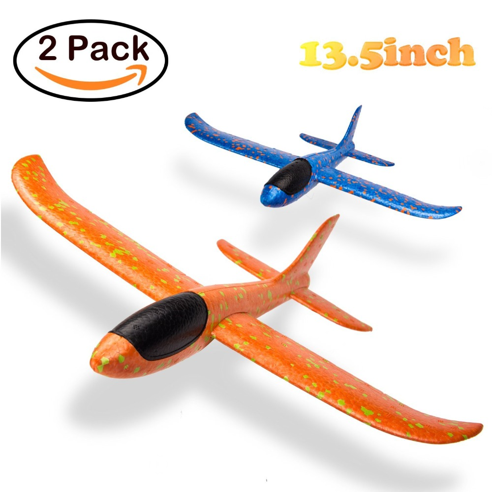 Hand Launch Throwing Glider Aircraft Inertial Foam EVA Airplane Toy EPP Hand Throwing Aircraft-2PCS/Set