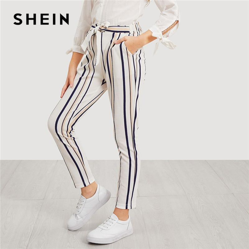 SHEIN Self Belted Varsity Striped Girls Leggings 2019 Spring Fashion Active Wear Trousers Casual Pants Girl Kids Clothes solid self belted wide leg pants