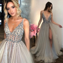 2020 높은 분할 섹시한 V 넥 댄스 파티 드레스 Tulle 라인 긴 vestidos 드 공식 파티 Backless 우아한 갈라 jurken 이브닝 가운