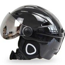 Для мужчин и женщин, лыжный шлем, очки, сноуборд, шлем, маска, мото, снегоход, скейтборд, шлем, зимний теплый флис, емкость, очки, козырек