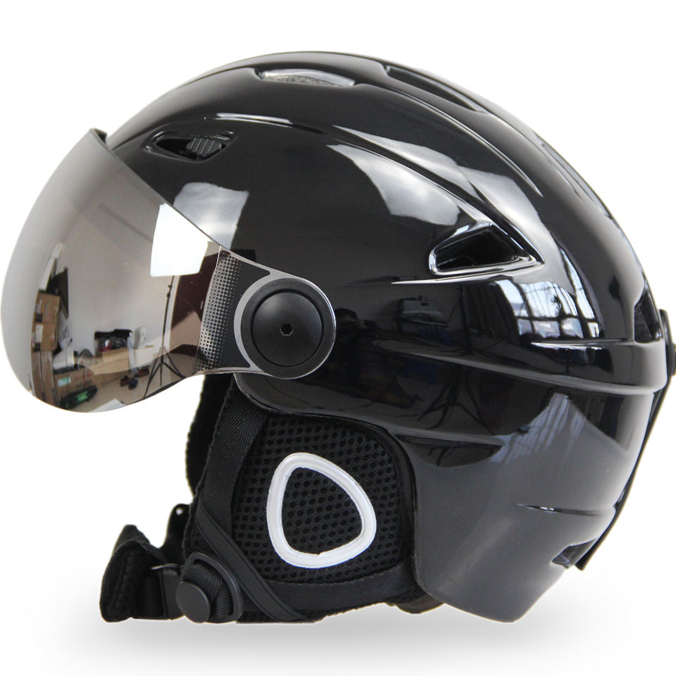 Las mujeres de los hombres casco de esquí gafas Snowboard casco máscara de Moto de nieve monopatín casco invierno cálido polar Capacete gafas visera
