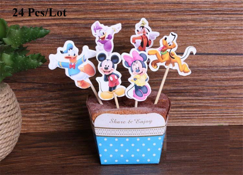 baby 1st birthday minnie party cupcake toppers first birthday boy children kids party decoration mickey cake topper flag in Cake Decorating Supplies from Home Garden
