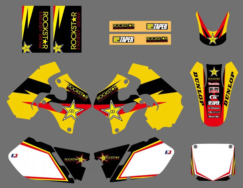 Mototcycle Rockstar Graphics Decals Stickers For Suzuki RM125 RM250 RM 125 250 1996 1997 1998