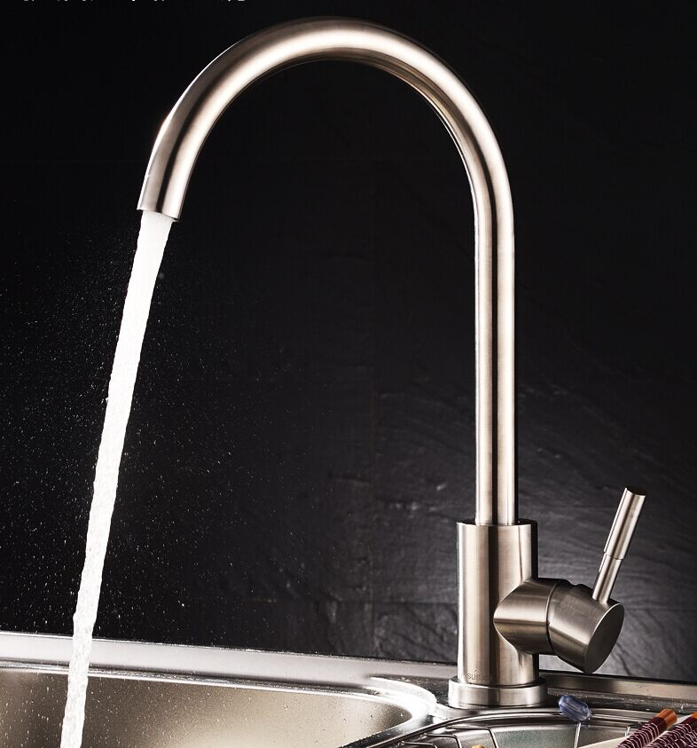 Sus304 Stainless Steel Kitchen Faucets Brushed Mixer Water: Lead Free SUS304 Stainless Steel Brushed Nickel Kitchen