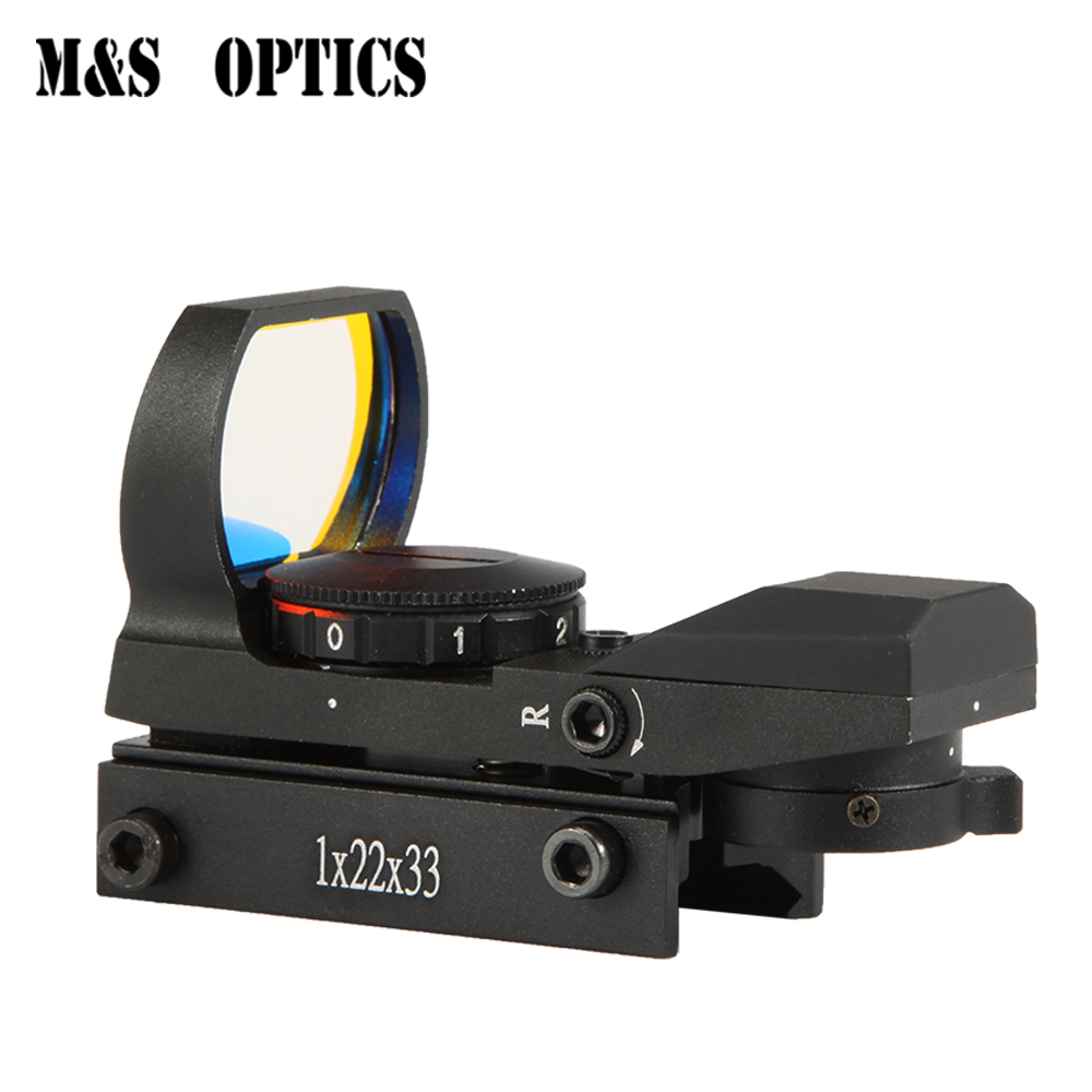M&S OPTICS 1x22x33 Four Reticles Shooting Holographic Optical Airsoft Viewer Red Dot Point  Air Rifle Hunting Sight Scope