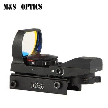 M & S OPTICS-visor óptico holográfico Airsoft, visor punto rojo, mira de caza, Rifle de aire, cuatro retículas, 1x22x33