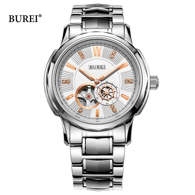 BUREI Mechanical Watches Men Rose Gold Silver Military Sapphire Crystal Business Automatic Wrist Watch Clock Saat Montre Homme