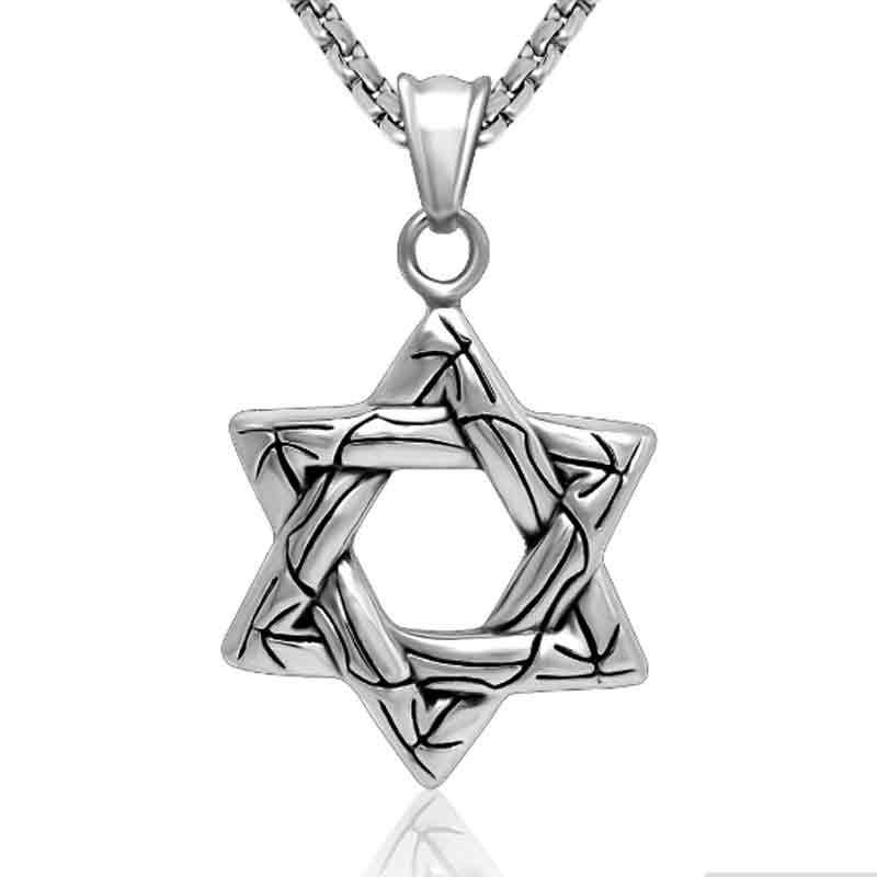 10pcs Jewish Hexagram Star of David Pendant Biker Necklace Vintage Retro  Silver Necklace For Women Men Jewelry Stores . 526e2d4d22cf