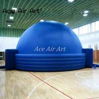 giant 7m diameter blue Inflatable planetarium dome Projection for science education with Entrance and exit