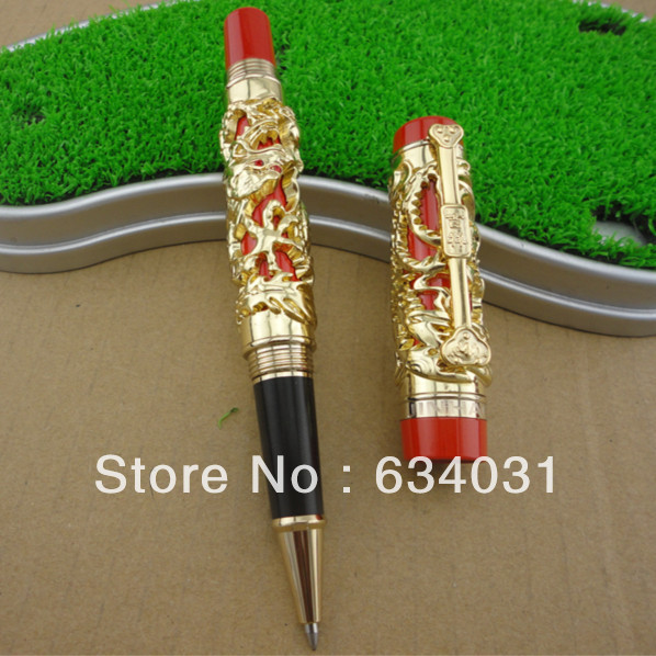 Jin Hao dragon relief gold and red Roller Ball Pen chris wormell george and the dragon