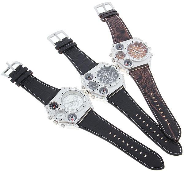 Image 5 - Oulm 1349 Reloj Hombre mężczyźni podwójny ruch sportowy zegarek wojskowy z kompas termometr dekoracji mężczyzna zegar Relogio Masculino w Zegarki cyfrowe od Zegarki na