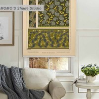 MOMO Painting Blackout Roller Blinds Window Curtains Roller Shades Blinds Thermal Insulated Fabric Custom Size,PRB set816