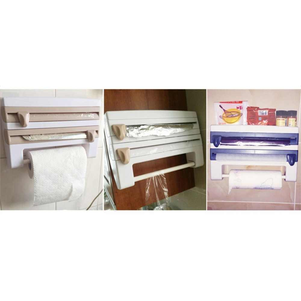 المحمولة المطبخ غشاء تغليف زجاجة صلصة تخزين الرف الحاويات حامل المناشف الورقية مع شفرات قاطعة المنزل لوازم المطبخ