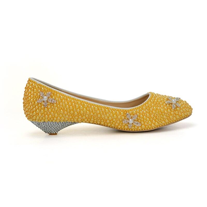 Confortable Faible Pouce 44 Main La Fleur Taille 2cm Jaune De Talon Mode Habillées À 1 Chaussures Strass Bal Yellow Mariée Couleur Partie qPOqvHw