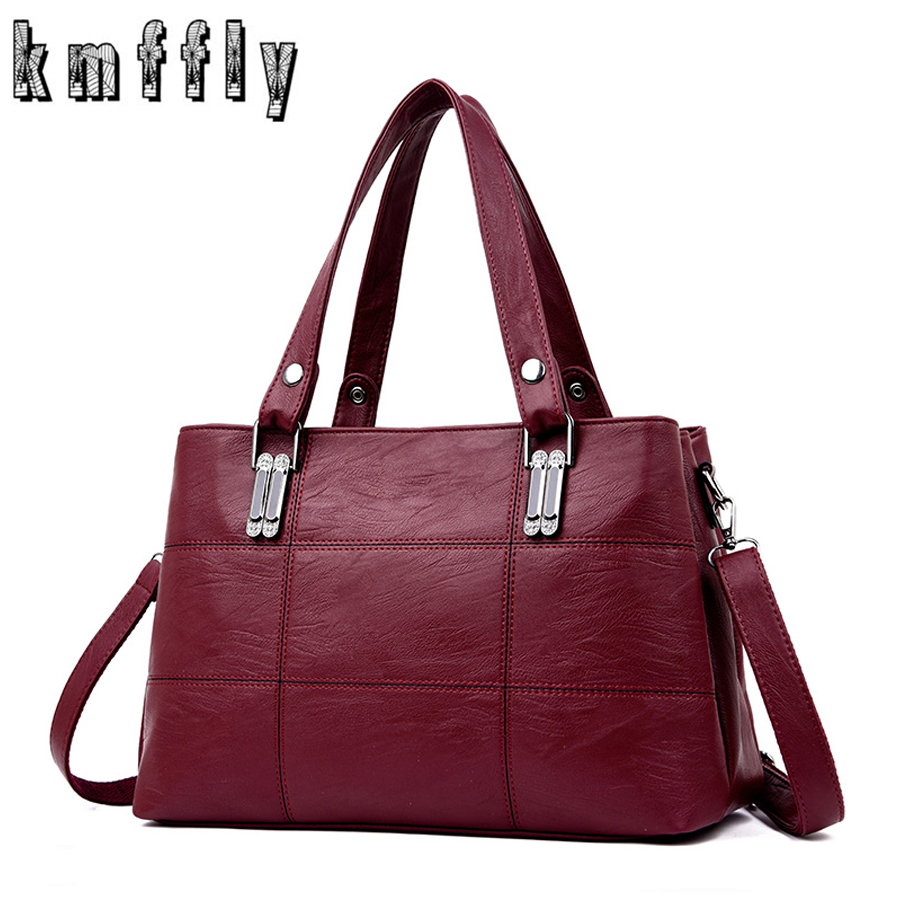 KMFFLY Brand Women Leather Handbags Women's Shoulder Bags Female Messenger Bag Large Capacity Ladies Casual Tote Bag Black/red