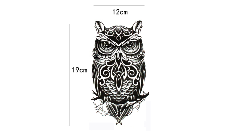 19*12cm Cool Black Owl Shaped Waterproof Temporary Tattoos Sticker for Women Men Tattoo Sleeve Sexy Tatto Body Art Accessories 2